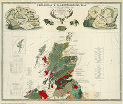 Geological & Palaeontological Map of the British Islands in TWO sheets, 1854