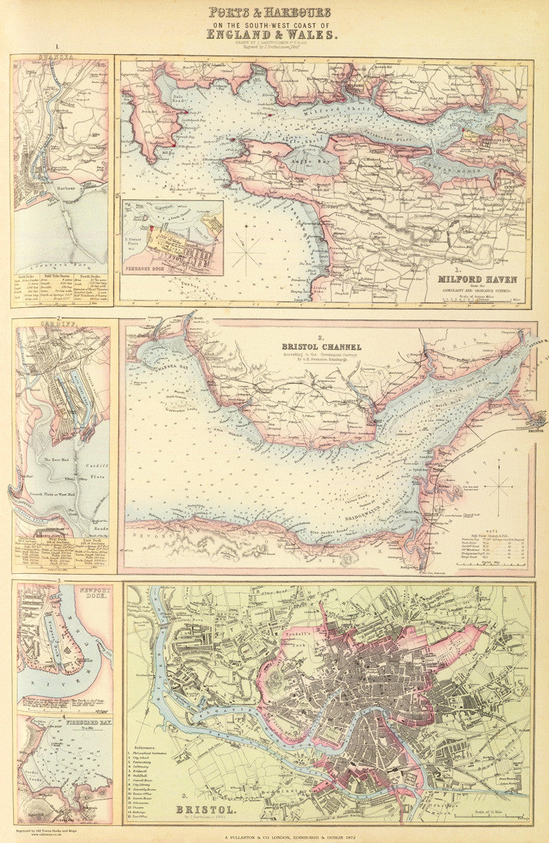 Map Of West Of England.Ports And Harbours Of South West England In 1872
