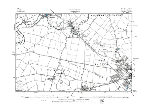 RUTLAND 010NE : old map of Great Casterton, Tickencote (south) in 1886