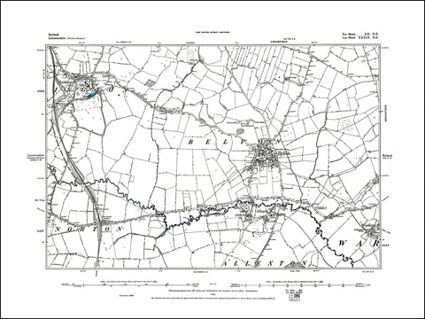 RUTLAND 012NE : old map of Belton in 1885