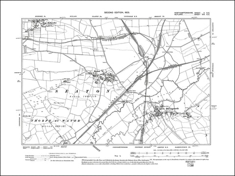 RUTLAND 013SE : old map of Seaton, Bishbrooke (south) in 1905