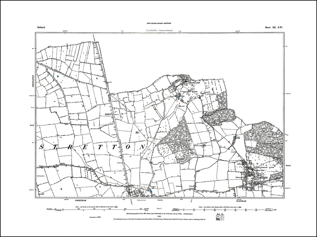 RUTLAND 003SW : old map of Clipsham in 1884