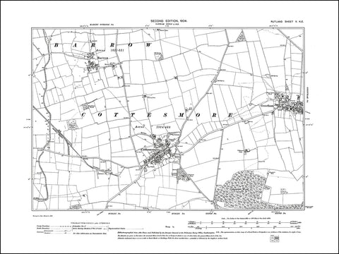 RUTLAND 005NE : old map of Barrow, Cottesmore, Greetham in 1904