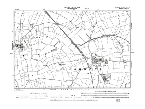 RUTLAND 005NW : old map of Ashwell, Whissendine (east) in 1904