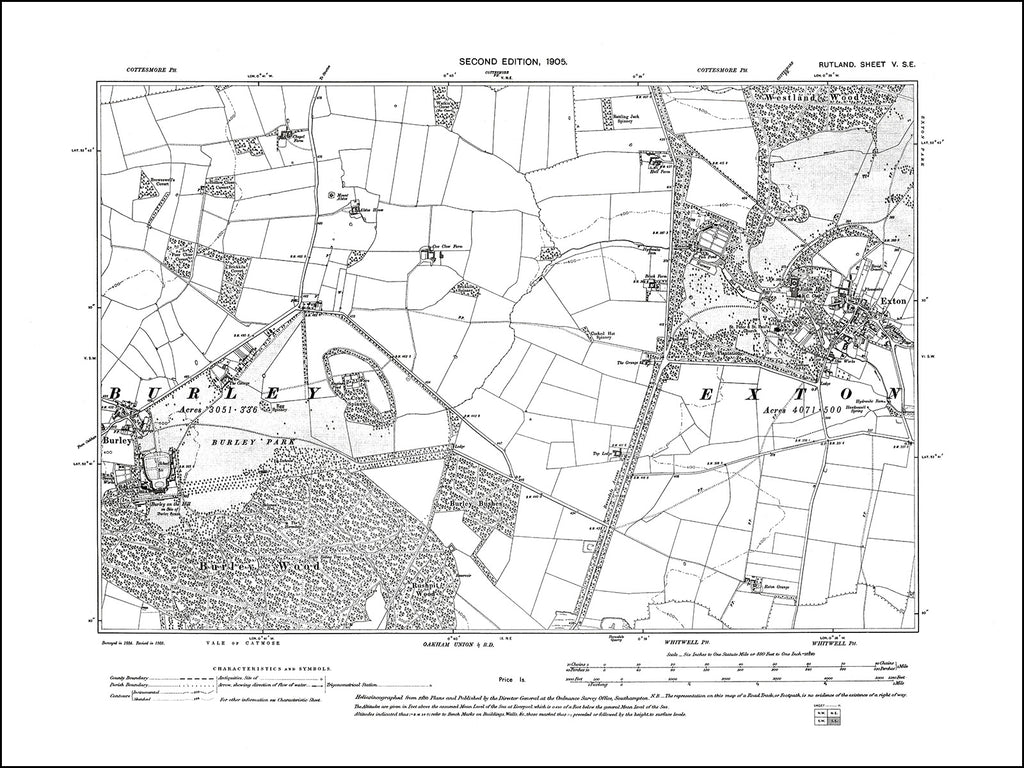 RUTLAND 005SE : old map of Exton, Burley in 1905