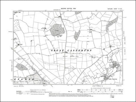 RUTLAND 006SE : old map of Little Casterton in 1905