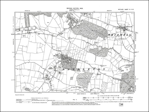 RUTLAND 009NE : old map of Upper Hambleton, Whitwell in 1905