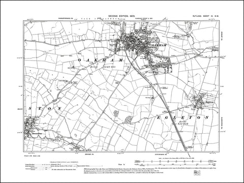 RUTLAND 009NW : old map of Oakham, Braunston (east), Egleton in 1905