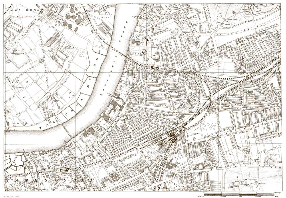 Wandsworth, Eel Brook Common, Battersea, Lavender Hill (London 1888 Sheet 30)
