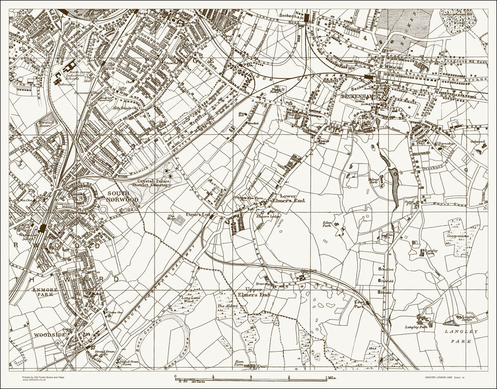Penge, South Norwood, Beckenham (London & Suburbs 1888 Sheet 46)