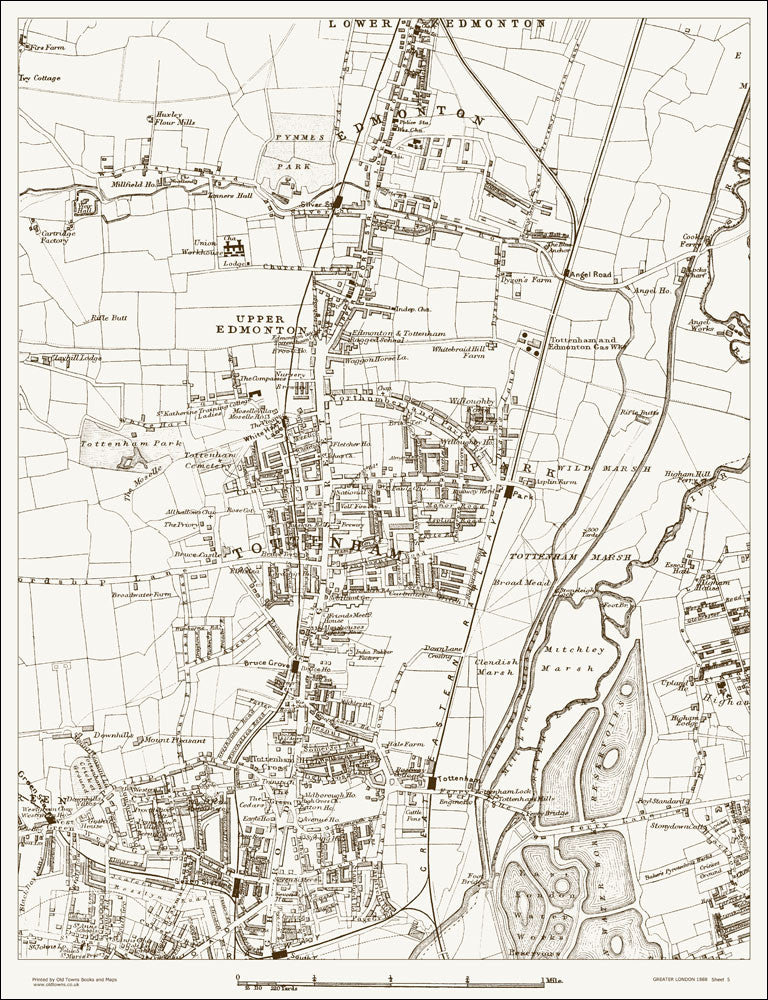 Tottenham London Map.Old Map Tottenham Edmonton 1888 Old Towns Maps