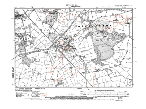 SHROPSHIRE 012SE : old map of Whittington in 1929