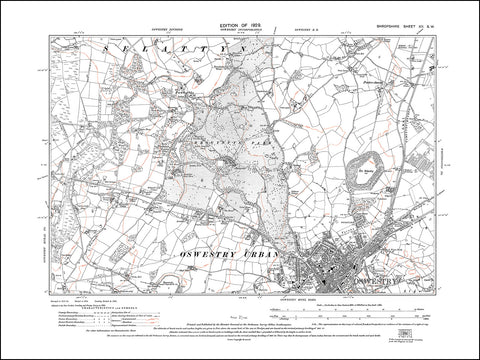 SHROPSHIRE 012SW : old map of Oswestry (north) in 1929