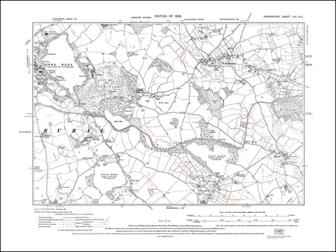 SHROPSHIRE 013NE : old map of Ellesmere (east), Welshampton, Colemere in 1929
