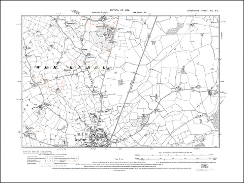 SHROPSHIRE 014SE : old map of Wem (north), Creamore Bank, Edstaston in 1929