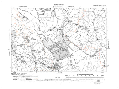 SHROPSHIRE 014SW : old map of Loppington, English Frankton, Horton in 1929