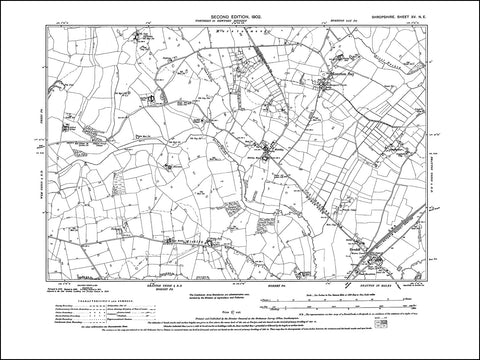 SHROPSHIRE 015NE : old map of Moreton Say, Mickley, Ternhill in 1902