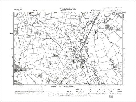 SHROPSHIRE 015SE : old map of Wollerton, Lostford, Marchamley in 1902