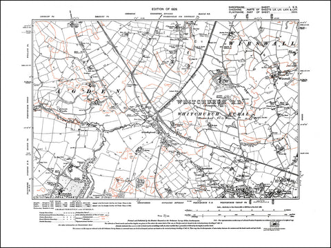 SHROPSHIRE 001SE : old map of Whitchurch (north), Grindleybrook in 1929