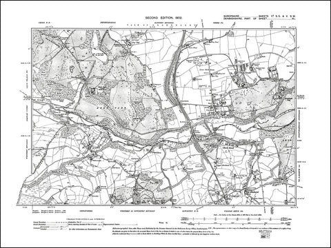 SHROPSHIRE 005A-SE-5SW : old map of Chirk Bank, Preesgwyn, Bronygarth in 1902
