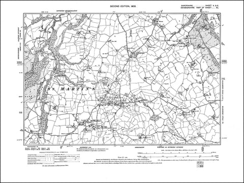 SHROPSHIRE 005SE : old map of St Martins, Iftons Heath, Dudleston in 1902
