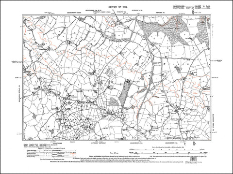 SHROPSHIRE 006SW : old map of Dudleston Heath, Greenhill Bank in 1929