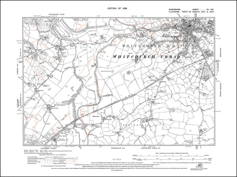 SHROPSHIRE 007NE : old map of Whitchurch (south) in 1929