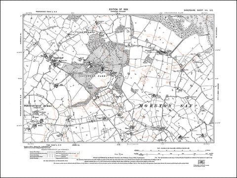 SHROPSHIRE 008SE : old map of Calverhall, Cloverley Park in 1929