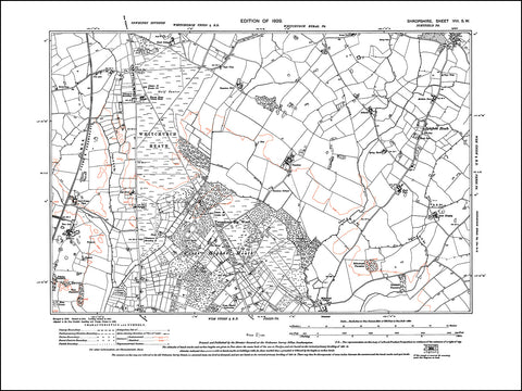 SHROPSHIRE 008SW : old map of Prees Higher Heath, Ightfield Heath in 1929