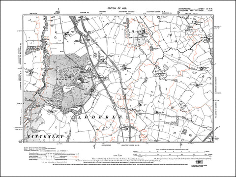 SHROPSHIRE 009NW : old map of Adderley in 1929