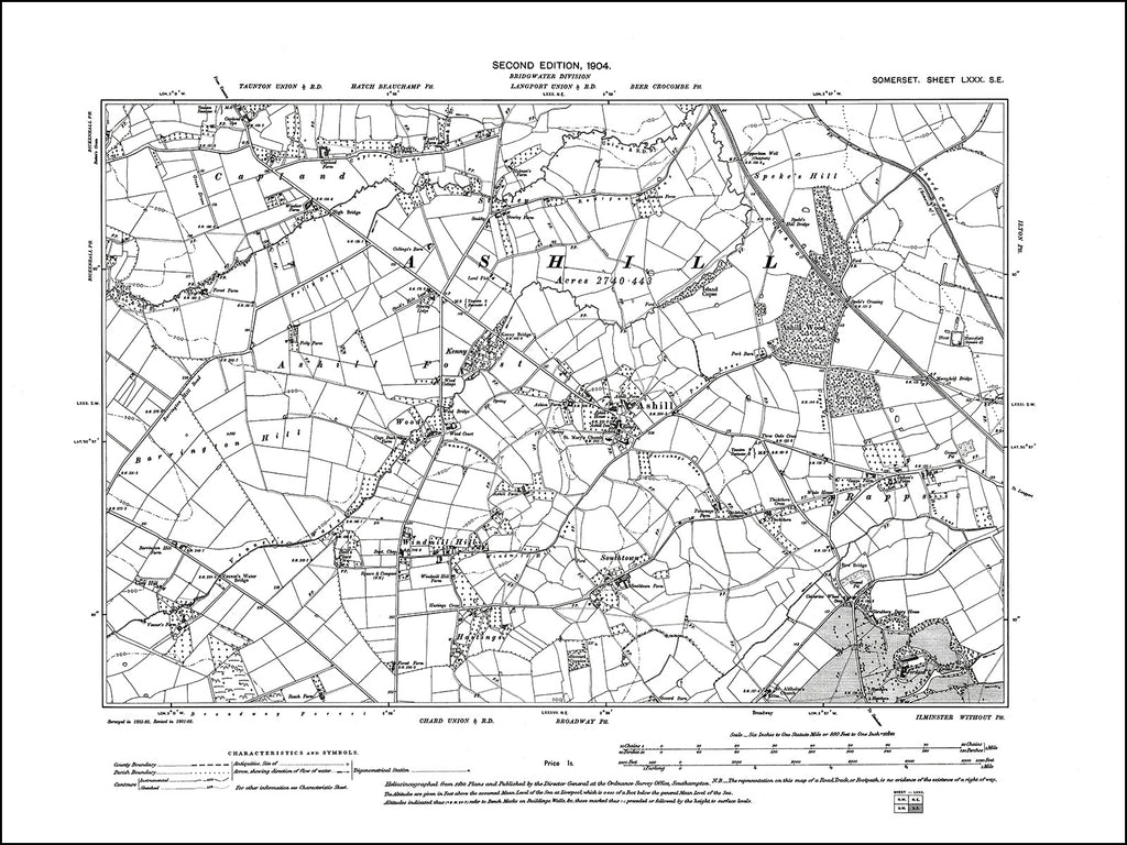 SOMERSET 080SE : old map of Ashill in 1904