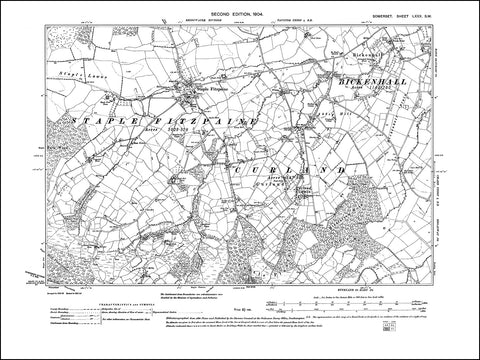 SOMERSET 080SW : old map of Bickenhall, Curland, Staple Fitzpaine in 1904