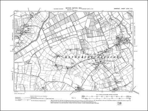 SOMERSET 081NE : old map of Kingsbury Episcopi, Hambridge in 1904