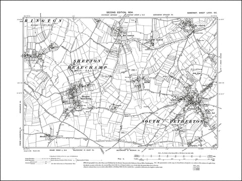 SOMERSET 081SE : old map of Shepton Beauchamp, South Petherton, Lambrook in 1904