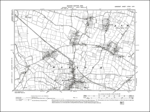 SOMERSET 082NW : old map of Martock, Ash, Coat, Stapleton in 1904