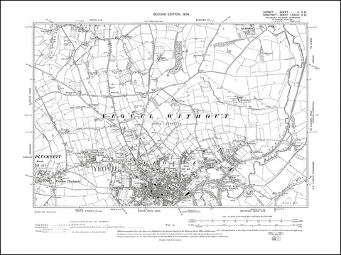SOMERSET 083SW : old map of Yeovil (north), Preston Plucknett in 1904