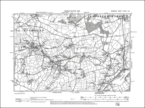 SOMERSET 087SE : old map of Combe St Nicholas, Wadeford, Chardleigh Green in 1903