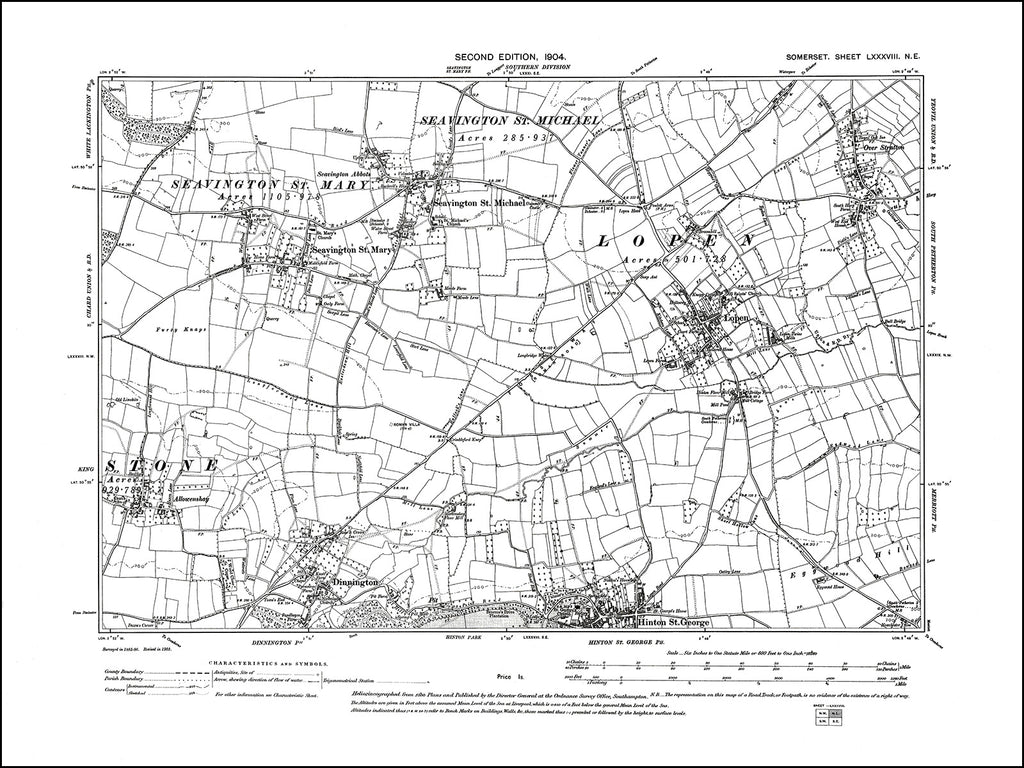 SOMERSET 088NE : old map of Seavington St Michael & St Mary, Lopen, Dinnington in 1904