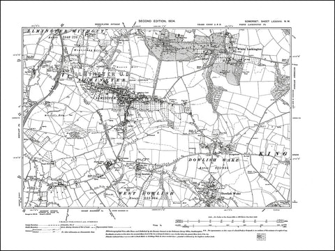 SOMERSET 088NW : old map of Ilminster, White Lackington, Dowlish Wake in 1904