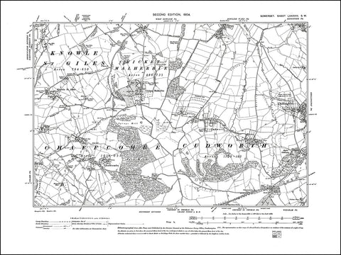 SOMERSET 088SW : old map of Chillington, Cudworth, Cricket Malherbie, Chaffcombe in 1904