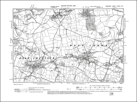 SOMERSET 089NE : old map of West Coker, East Channock, Brympton, Odcombe in 1904