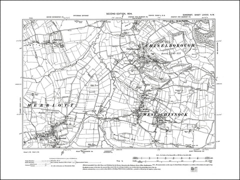 SOMERSET 089NW : old map of West Chinnock, Chiselborough, Merriot (north) in 1904