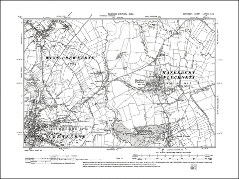 SOMERSET 089SW : old map of Crewkerne (northeast), Haselbury Plucknett, Merriot (south) in 1904