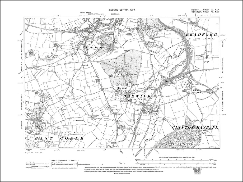 SOMERSET 090NW : old map of Yeovil (south), Barwick, North Coker in 1904