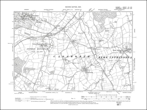 SOMERSET 090SW : old map of East Coker, Sutton Bingham, Closworth in 1904