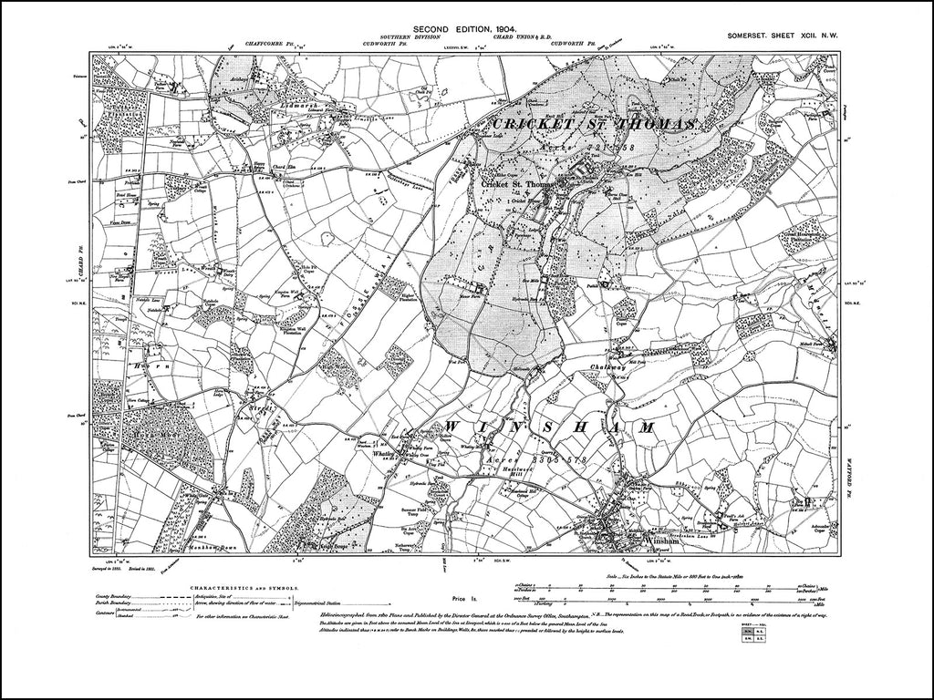 SOMERSET 092NW : old map of Cricket St Thomas, Winsham (north), Lidmarsh in 1904