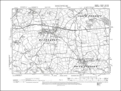 SOMERSET 093NW : old map of Misterton in 1904