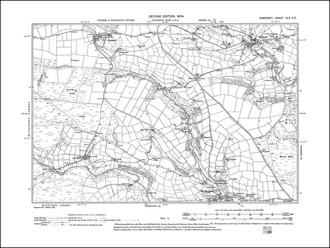 SOMERSET 045SE : old map of Exford, Withypool in 1904
