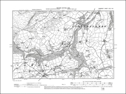 SOMERSET 046NE : old map of Cutcombe in 1903