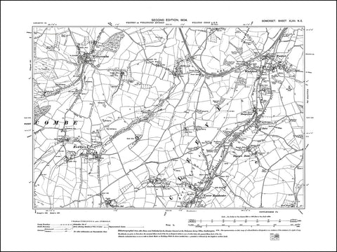 SOMERSET 047NE : old map of Withycombe, Rodhuish, Washford in 1904